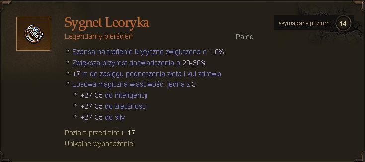Diablo 3 Sygnet Leoryka